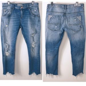 Zara Basic Z1975 Denim destroyed cropped jeans 8